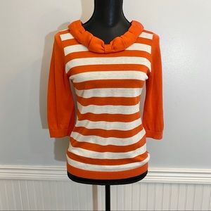 Kate Spade Sweater Orange and Cream stripes Small